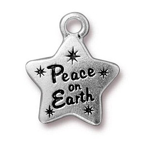 PEACE STAR charm ANTIQUE SILVER