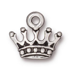 king's crown charm ANTIQUE SILVER