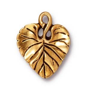 violet leaf charm ANTIQUE GOLD