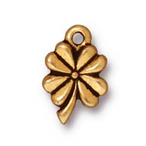 4 leaf clover charm ANTIQUE GOLD