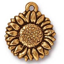 sunflower charm ANTIQUE GOLD