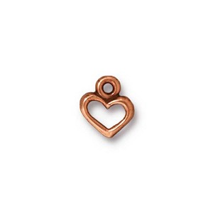 open heart charm ANTIQUE COPPER