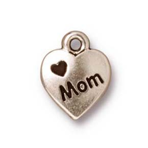 love mom charm ANTIQUE SILVER