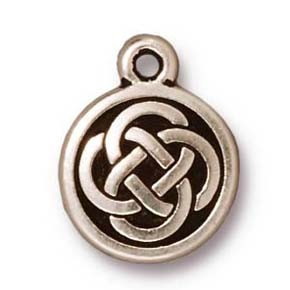 celtic round charm ANTIQUE SILVER