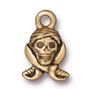 pirate skull charm ANTIQUE GOLD