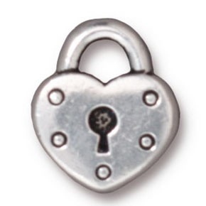 heart lock charm ANTIQUE SILVER