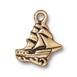 clipper ship charm ANTIQUE GOLD