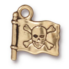 jolly roger charm ANTIQUE GOLD