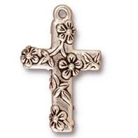 floral cross charm ANTIQUE SILVER