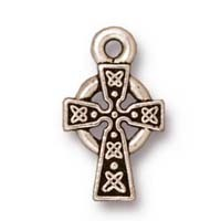 small celtic cross charm ANTIQUE SILVER