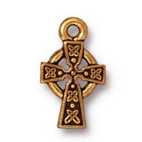 small celtic cross charm ANTIQUE GOLD