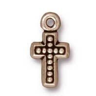 beaded cross charm ANTIQUE SILVER