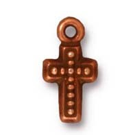 beaded cross charm ANTIQUE COPPER