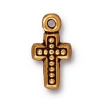 beaded cross charm ANTIQUE GOLD