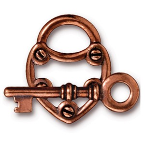 lock and key toggle clasp ANTIQUE COPPER