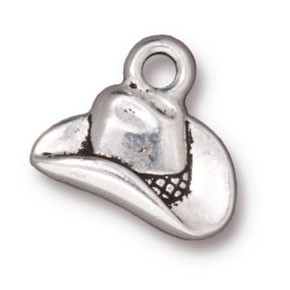 cowboy hat charm ANTIQUE SILVER
