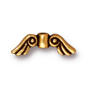 small angel wings bead ANTIQUE GOLD