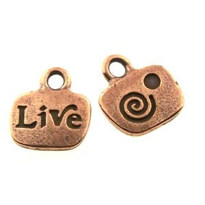 live GLUE-IN charm ANTIQUE COPPER