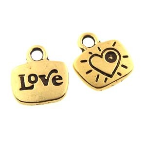love GLUE-IN charm ANTIQUE GOLD