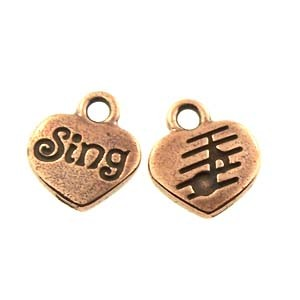 sing GLUE-IN charm ANTIQUE COPPER